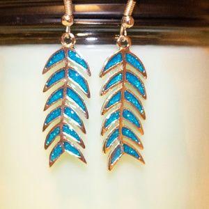 Retro Blue Fire Opal feather Dangle Earrings